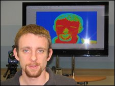 Poetry volunteer Alan Woodland and his thermal image