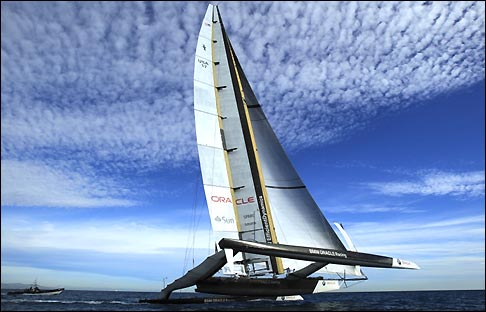 The BMW Oracle boat in training for the America's Cup