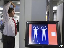 A man stands inside a body scanner at Schiphol airport, Amsterdam
