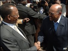 Sudan President Omar al-Bashir, right, receives Chad President Idris Deby in Khartoum, Sudan, on 8 February 2010