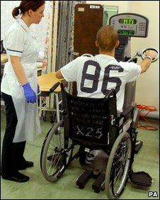 An injured serviceman at Selly Oak Hospital