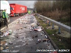 Beer spillage on the M20 in Kent