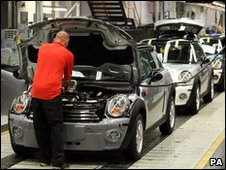 Production line at the BMW UK Mini plant in Oxford