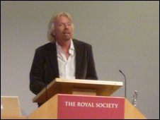 Sir Richard Branson at the launch of the taskforce's report