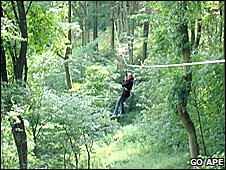 Someone using a zip wire