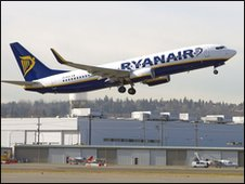 Ryanair jet takes off