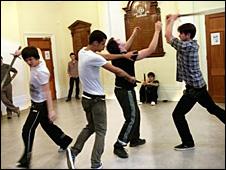 Rehearsal scene. Credit: Simon Annan