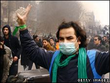 Iranian protester in Tehran in December