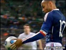 Thierry Henry handles the ball during France's World Cup play-off against the Republic of Ireland