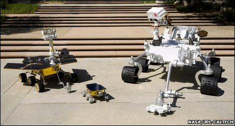 Scale models of three generations of Nasa Mars rover