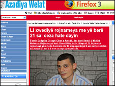 Screen grab of Azadiya Welat website with picture of Ozan Kilinc - 10 February 2010