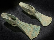 The Bronze Age palstaves were discovered on farm land last September