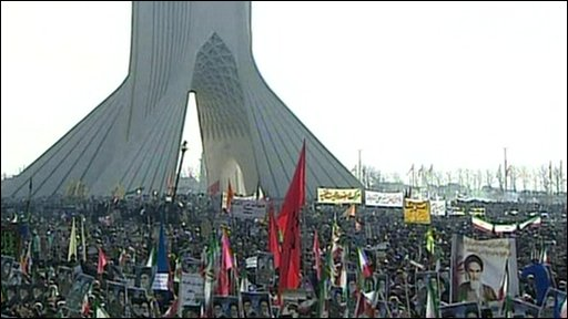 People at the rally in Tehran