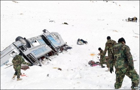 Overturned coach on the Salang Pass
