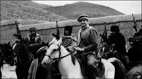 Charlie Wilson (on white horse) in Afghanistan in July 1987