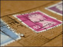 stamps on a letter