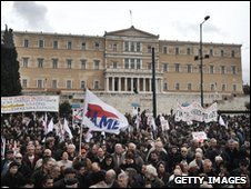 Demonstrators gather in front of the Greek Parliament in Athens