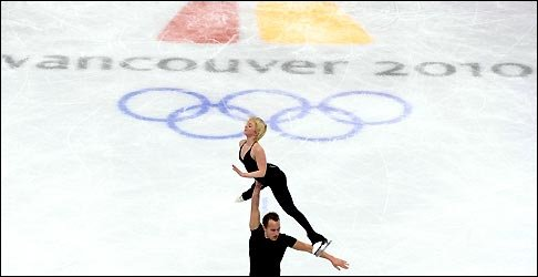 US pair Caydee Denney and Jeremy Barret perform during a training session in Vancouver 