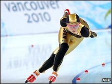 Japanese skater Miho Takagi on her 1500-metre time trial run in Richmond, outside Vancouver