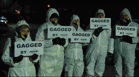 Protestors at AWE