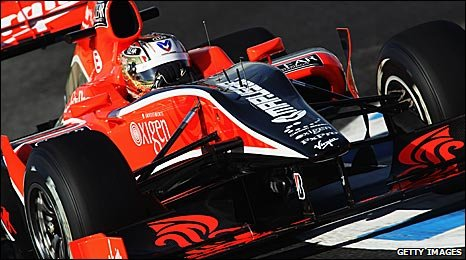 Timo Glock in the new Virgin car at Jerez on Thursday