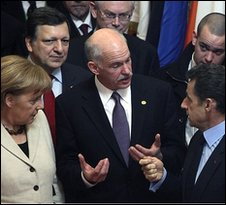 Greek PM George Papandreou (centre) with leaders of France and Germany, 11 Feb 10