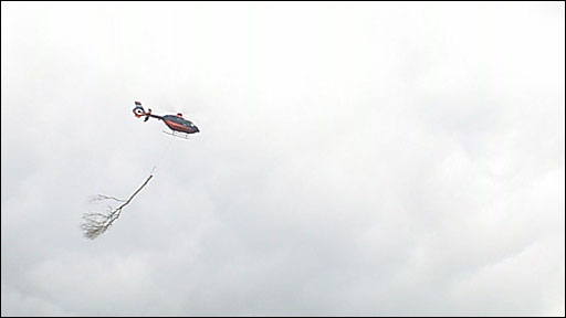 Helicopter removes trees at Crownhill Fort