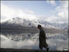 Boy on the banks of Dal Lake in Srinagar