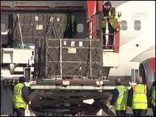 Crates containing lions are unloaded at Robin Hood Airport, Doncaster