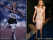 Aimee Mullins at the Paralympics in 1996, left, and at a McQueen event in 2008