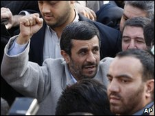 Iranian President Mahmoud Ahmadinejad at Tehran rally on 11 February 2010
