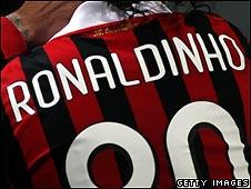 Ronaldinho in AC Milan shirt