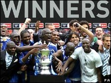 Portsmouth players celebrate winning the 2008 FA Cup