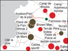 Grab from Ocha map of camps in Haiti