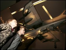 Two boys at the Imperial War Museum North