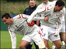 John Terry and Wayne Bridge in England training