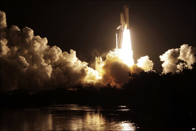 Space shuttle Endeavour lifts off from the Kennedy Space Center at Cape Canaveral