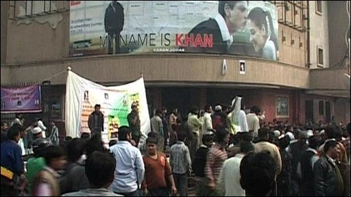 Protesters outside a Mumbai cinema showing the film