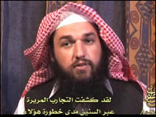 A still taken from an al-Qaeda video showing Adam Gadahn, a US convert to Islam who urged militants to bomb US President George W Bush