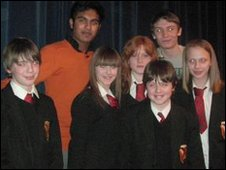 Spen Valley students with EastEnders actors Charlie and Himesh