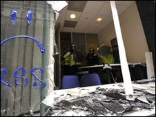 A damaged window at RBS during G20 protest