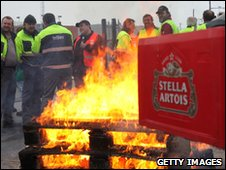 Workers protesting at Anheuser-Busch InBev brewery in Belgium
