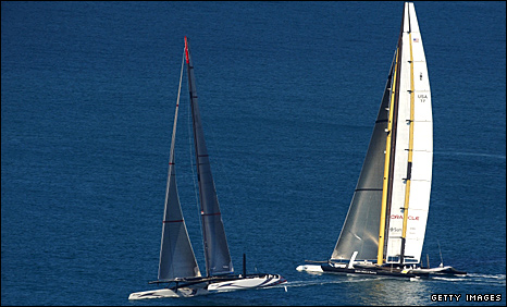 Alinghi (left) and Oracle jostle at the start
