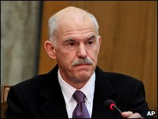 Greek PM George Papandreou during a cabinet meeting in Athens on 12 February 2010
