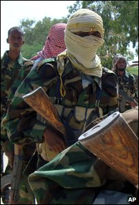 Members of al-Shabab conduct military exercise