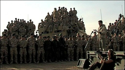 Brigadier James Cowan addresses the troops