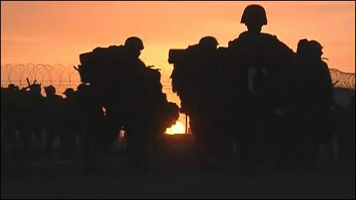 Troops moving at dusk