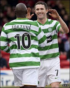 Celtic strikers Marc-Antoine Fortune and Robbie Keane