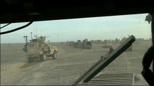 View through windscreen of US armoured behicles on way to Marjah
