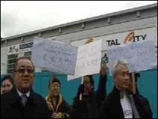 Traders protesting outside Oriental City in Colindale
